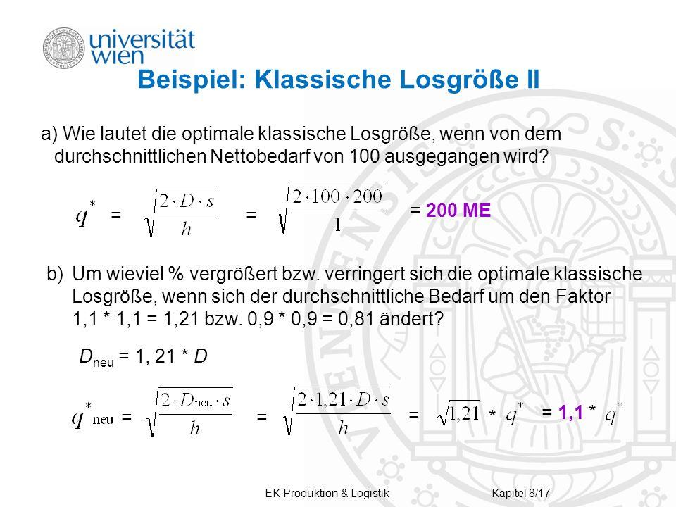Beispiel: Klassische Losgröße II a) Wie lautet die optimale klassische Losgröße, wenn von dem durchschnittlichen Nettobedarf von 100 ausgegangen wird?