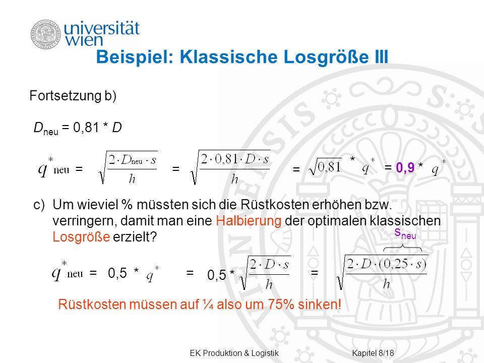 Beispiel: Klassische Losgröße III Fortsetzung b) D neu = 0,81 * D = = * = 0,9 * c)Um wieviel % müssten sich die Rüstkosten erhöhen bzw. verringern, da