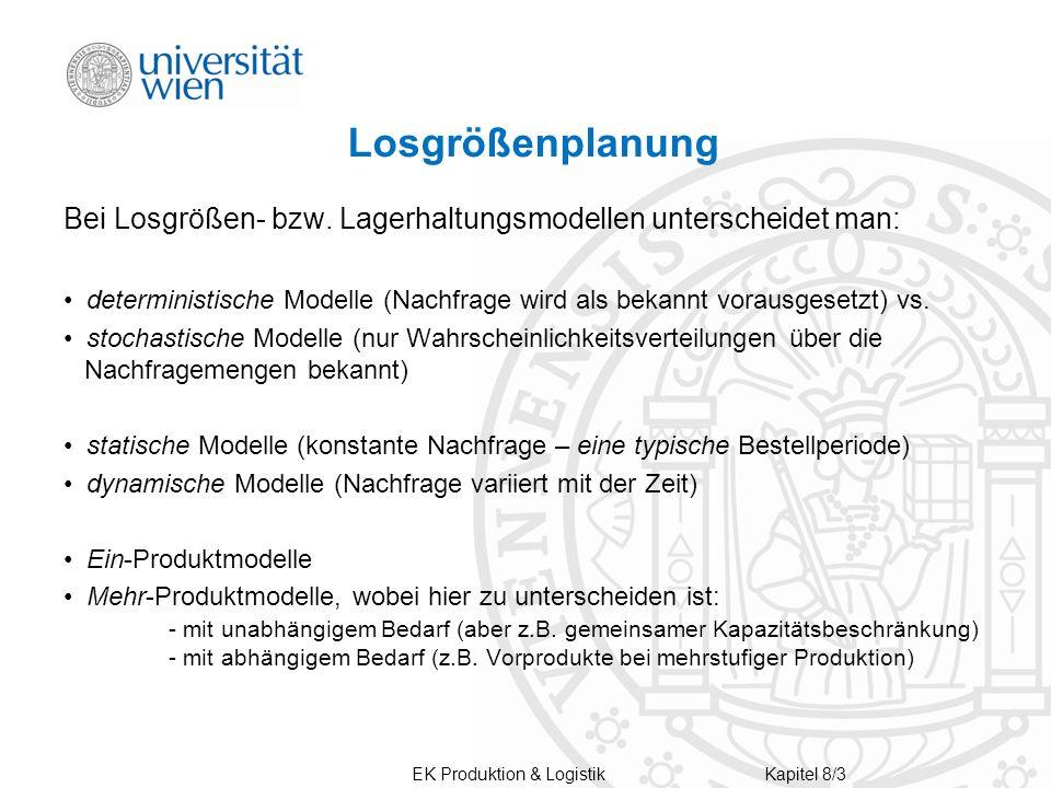Losgrößenplanung Bei Losgrößen- bzw. Lagerhaltungsmodellen unterscheidet man: deterministische Modelle (Nachfrage wird als bekannt vorausgesetzt) vs.