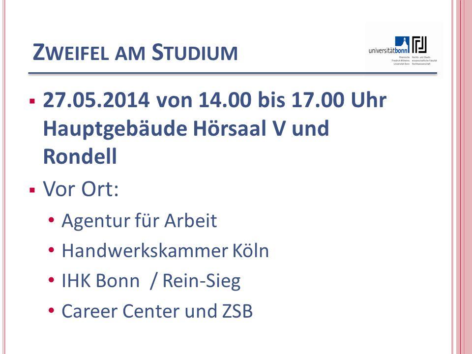 Z WEIFEL AM S TUDIUM 27.05.2014 von 14.00 bis 17.00 Uhr Hauptgebäude Hörsaal V und Rondell Vor Ort: Agentur für Arbeit Handwerkskammer Köln IHK Bonn /