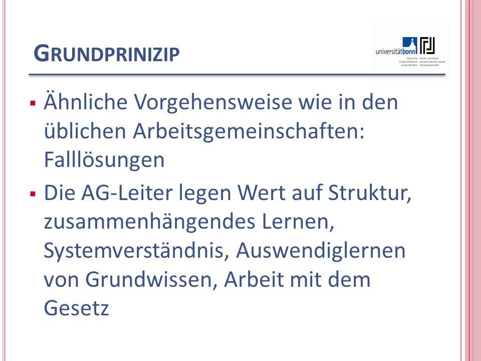 G RUNDPRINIZIP Ähnliche Vorgehensweise wie in den üblichen Arbeitsgemeinschaften: Falllösungen Die AG-Leiter legen Wert auf Struktur, zusammenhängende