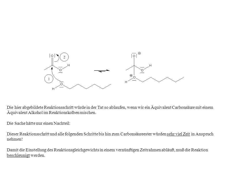 Die hier abgebildete Reaktionsschritt würde in der Tat so ablaufen, wenn wir ein Äquivalent Carbonsäure mit einem Äquivalent Alkohol im Reaktionskolbe