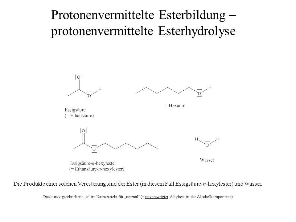 Protonenvermittelte Esterbildung – protonenvermittelte Esterhydrolyse Die Produkte einer solchen Veresterung sind der Ester (in diesem Fall Essigsäure