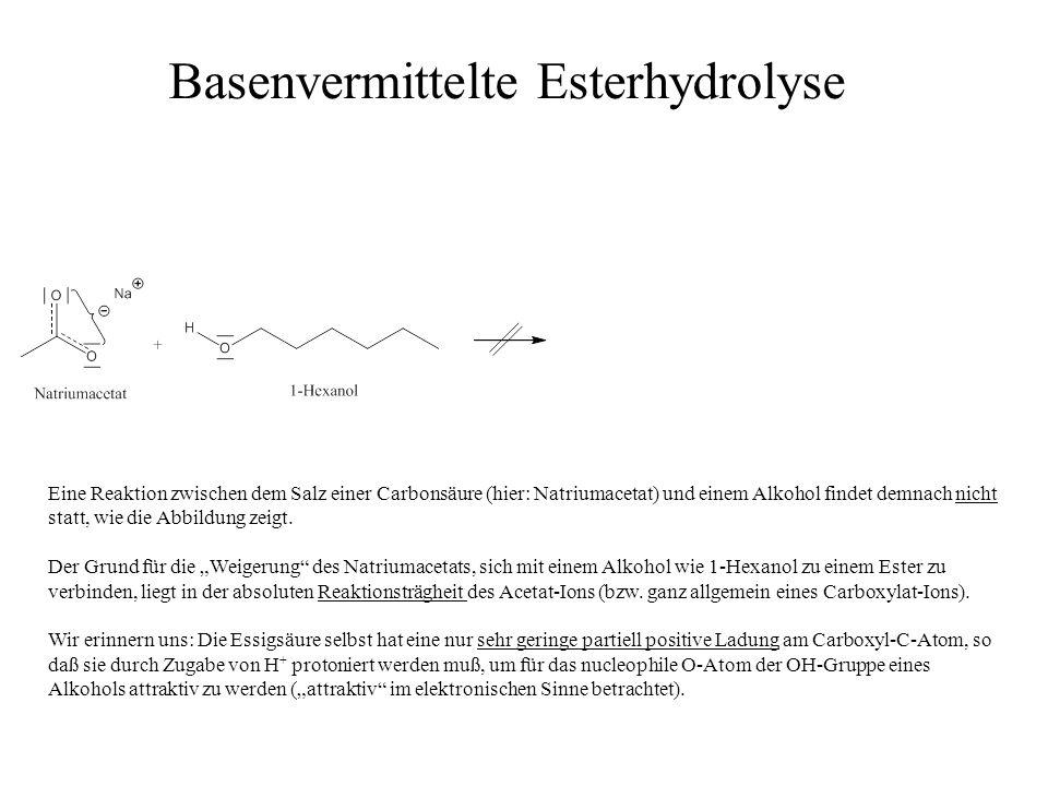 Eine Reaktion zwischen dem Salz einer Carbonsäure (hier: Natriumacetat) und einem Alkohol findet demnach nicht statt, wie die Abbildung zeigt. Der Gru