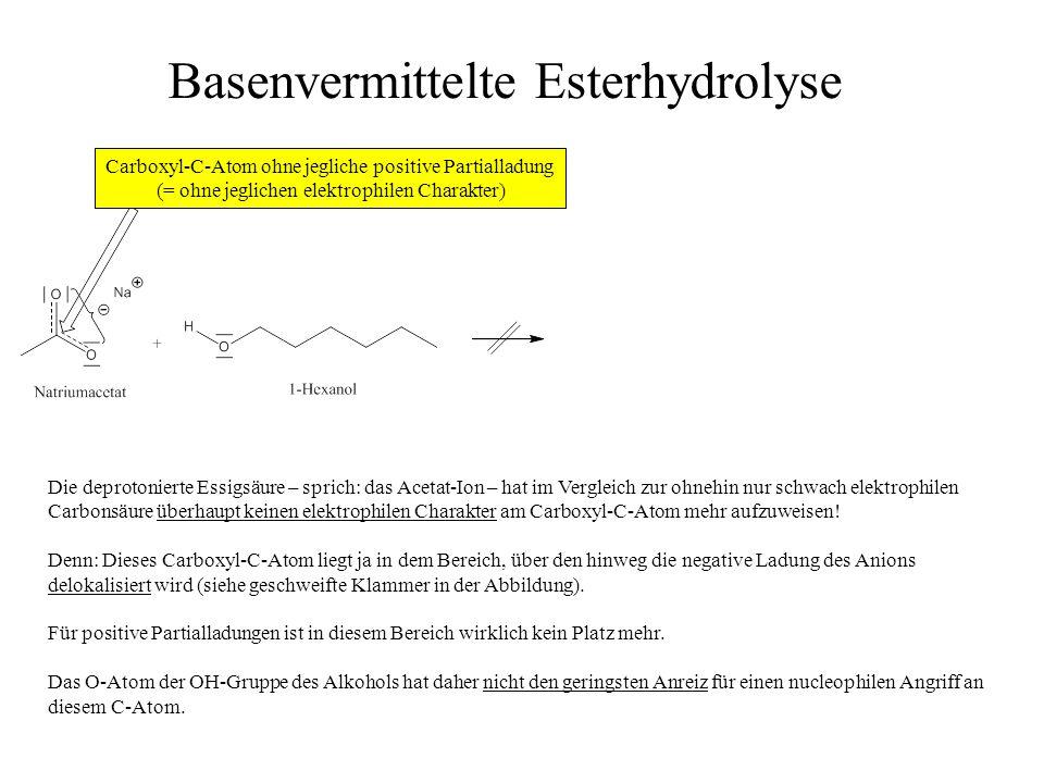 Die deprotonierte Essigsäure – sprich: das Acetat-Ion – hat im Vergleich zur ohnehin nur schwach elektrophilen Carbonsäure überhaupt keinen elektrophi