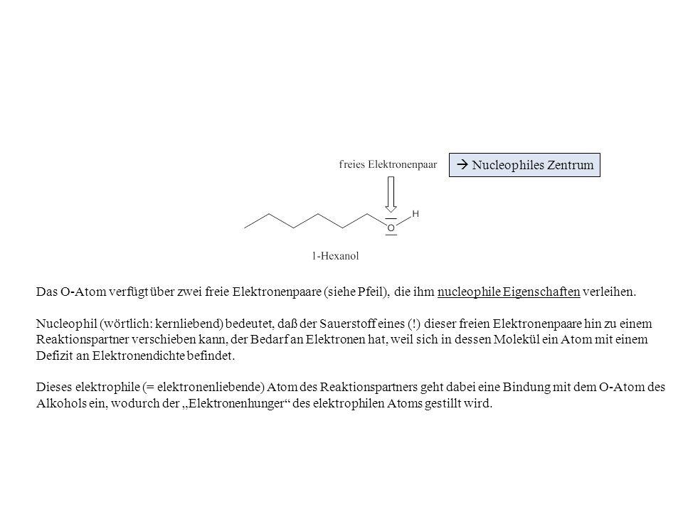 Der Reaktionspartner für das 1-Hexanol ist in unserem Beispiel die Essigsäure.