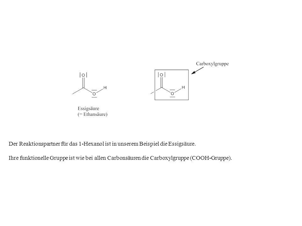 Der Reaktionspartner für das 1-Hexanol ist in unserem Beispiel die Essigsäure. Ihre funktionelle Gruppe ist wie bei allen Carbonsäuren die Carboxylgru