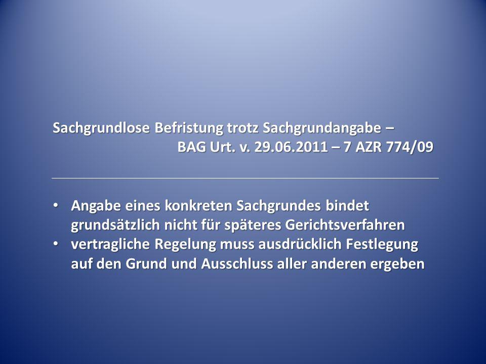 Vereinbarung der ordentlichen Kündbarkeit – BAG Urt.