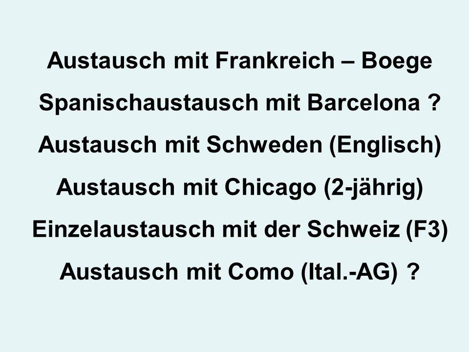 Austausch mit Frankreich – Boege Spanischaustausch mit Barcelona .