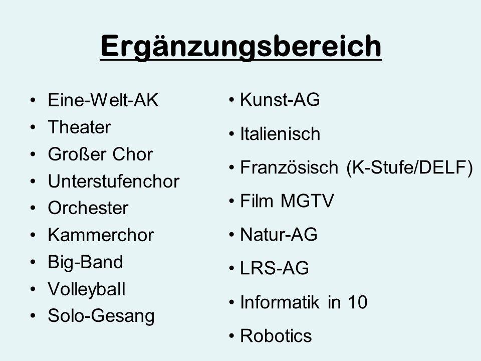 Ergänzungsbereich Eine-Welt-AK Theater Großer Chor Unterstufenchor Orchester Kammerchor Big-Band Volleyball Solo-Gesang Kunst-AG Italienisch Französisch (K-Stufe/DELF) Film MGTV Natur-AG LRS-AG Informatik in 10 Robotics