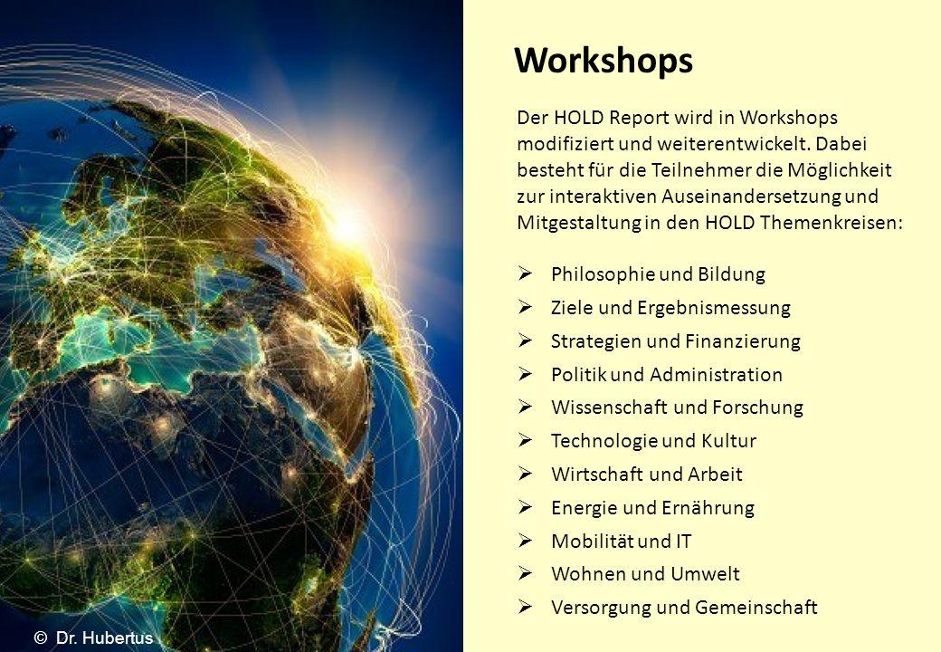 Workshops Der HOLD Report wird in Workshops modifiziert und weiterentwickelt. Dabei besteht für die Teilnehmer die Möglichkeit zur interaktiven Ausein