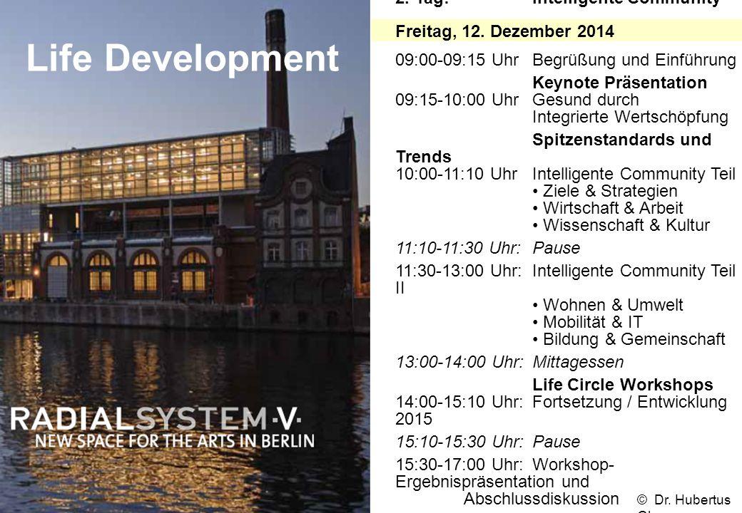Life Development 2. Tag:Intelligente Community Freitag, 12. Dezember 2014 09:00-09:15 UhrBegrüßung und Einführung Keynote Präsentation 09:15-10:00 Uhr