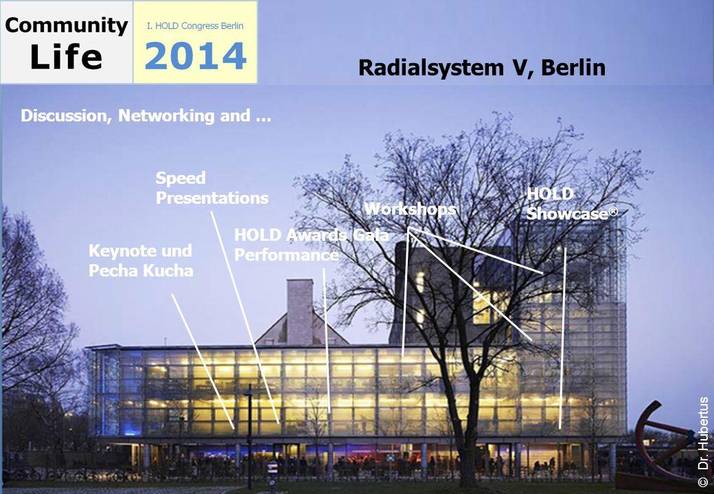 Workshops Keynote und Pecha Kucha HOLD Showcase ® HOLD Awards Gala Performance Speed Presentations Radialsystem V, Berlin Discussion, Networking and …