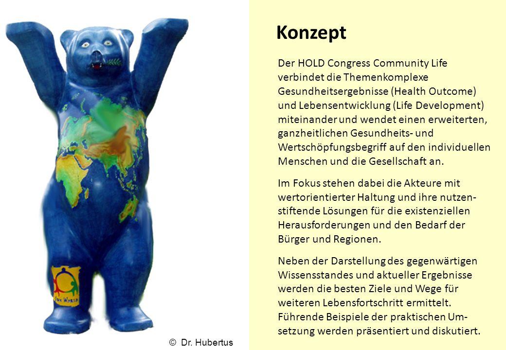 Konzept Der HOLD Congress Community Life verbindet die Themenkomplexe Gesundheitsergebnisse (Health Outcome) und Lebensentwicklung (Life Development)