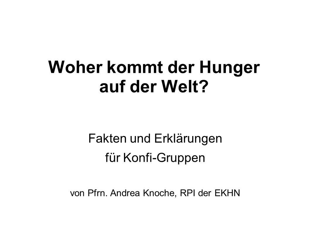 Woher kommt der Hunger auf der Welt.Fakten und Erklärungen für Konfi-Gruppen von Pfrn.