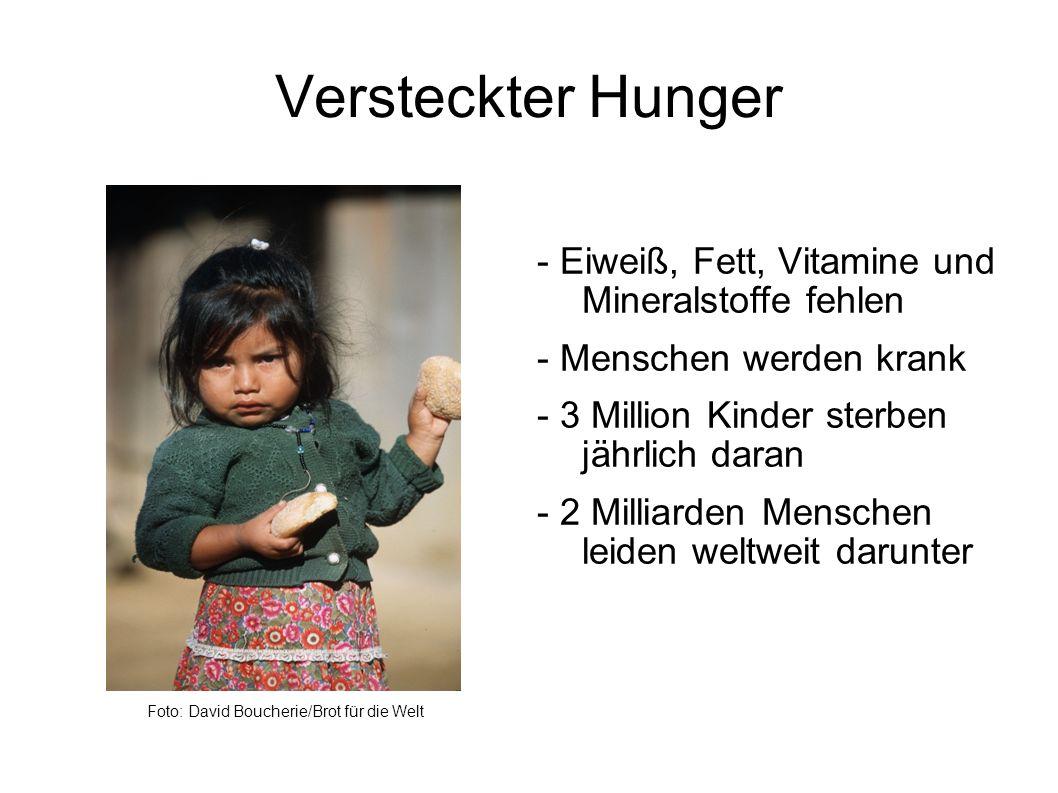 Versteckter Hunger Foto: David Boucherie/Brot für die Welt - Eiweiß, Fett, Vitamine und Mineralstoffe fehlen - Menschen werden krank - 3 Million Kinder sterben jährlich daran - 2 Milliarden Menschen leiden weltweit darunter