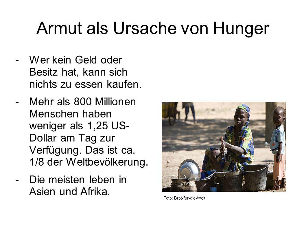 Armut als Ursache von Hunger -Wer kein Geld oder Besitz hat, kann sich nichts zu essen kaufen.