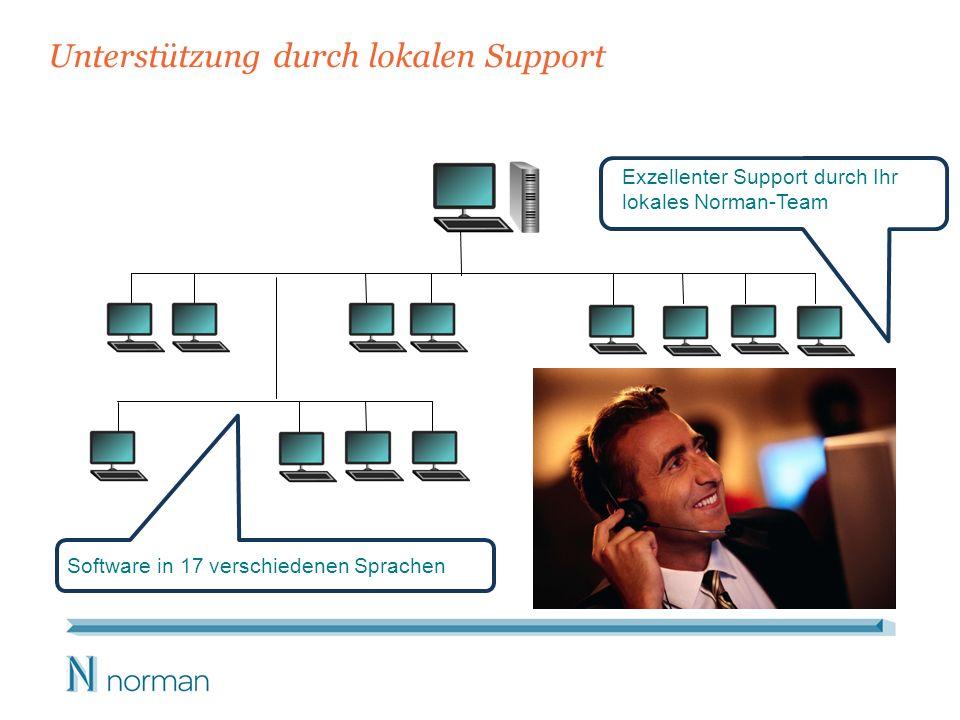 Unterstützung durch lokalen Support Exzellenter Support durch Ihr lokales Norman-Team Software in 17 verschiedenen Sprachen