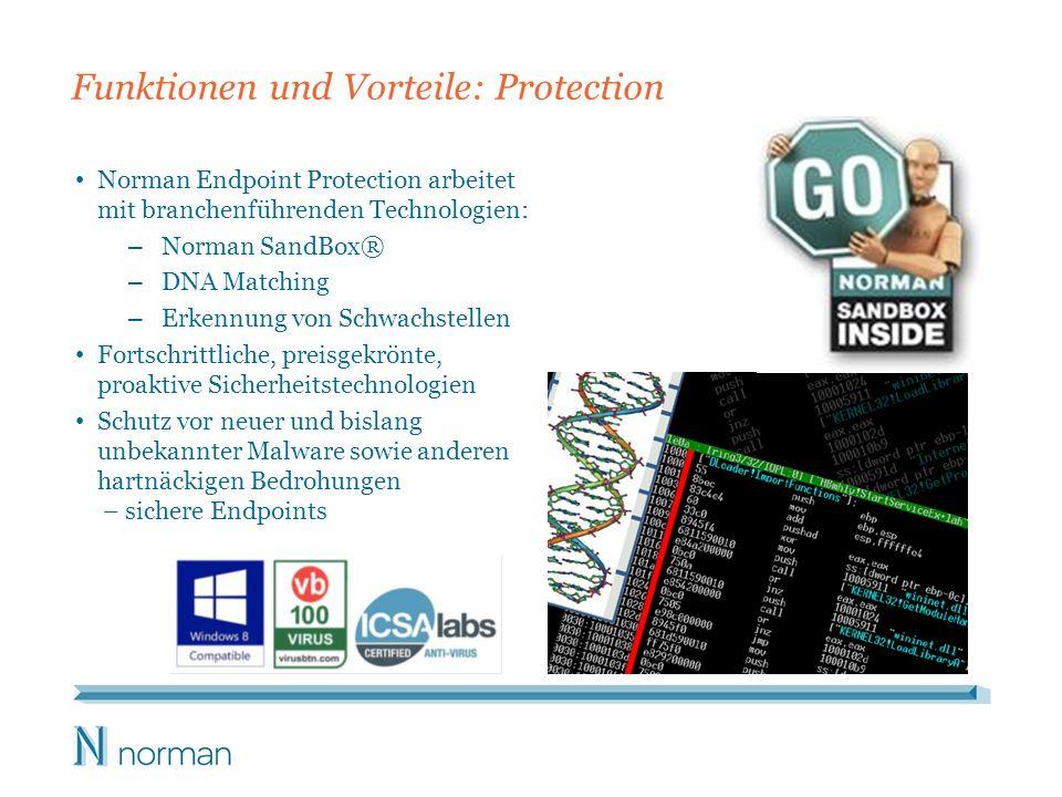 Funktionen und Vorteile: Protection Norman Endpoint Protection arbeitet mit branchenführenden Technologien: – Norman SandBox® – DNA Matching – Erkennung von Schwachstellen Fortschrittliche, preisgekrönte, proaktive Sicherheitstechnologien Schutz vor neuer und bislang unbekannter Malware sowie anderen hartnäckigen Bedrohungen – sichere Endpoints