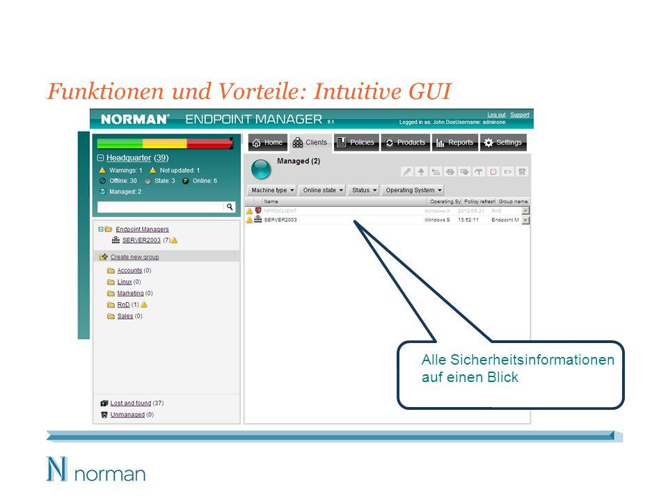 Funktionen und Vorteile: Intuitive GUI Alle Sicherheitsinformationen auf einen Blick