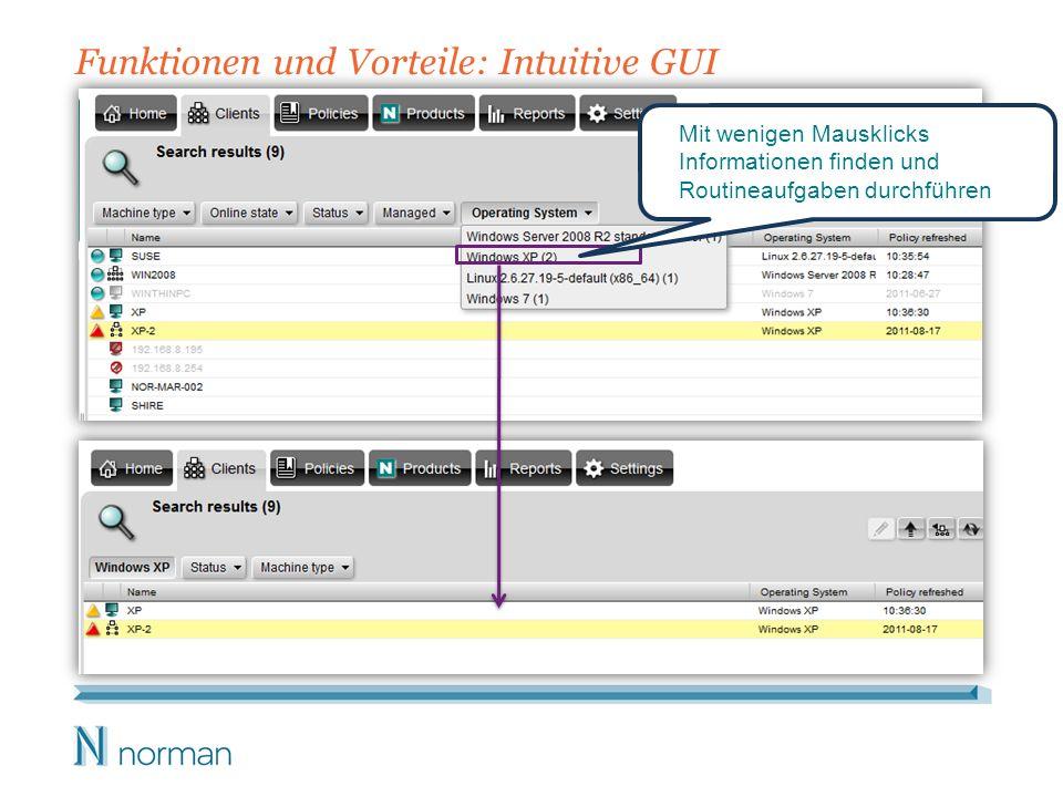 Funktionen und Vorteile: Intuitive GUI Mit wenigen Mausklicks Informationen finden und Routineaufgaben durchführen