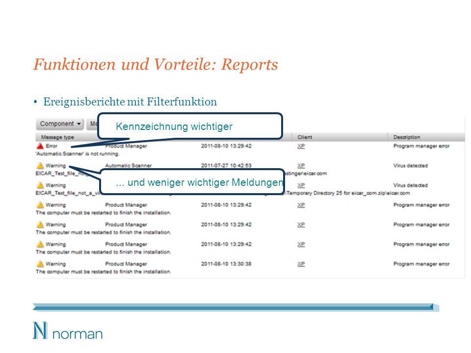 Funktionen und Vorteile: Reports Ereignisberichte mit Filterfunktion Kennzeichnung wichtiger... und weniger wichtiger Meldungen