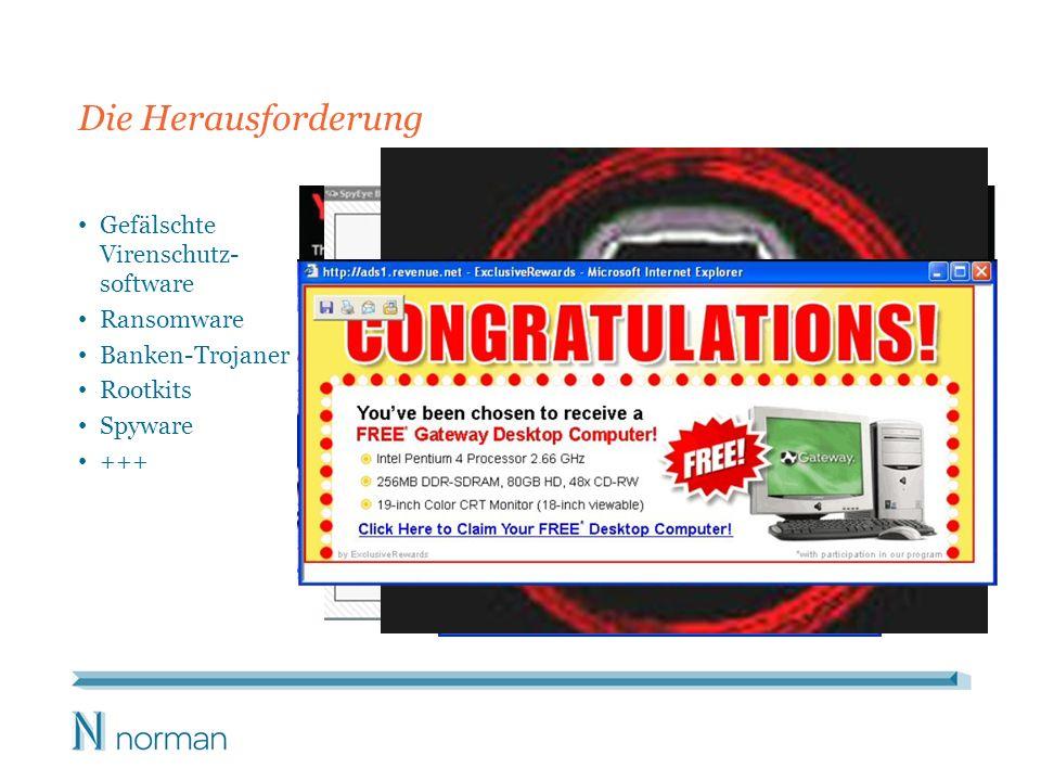 Gefälschte Virenschutz- software Ransomware Banken-Trojaner Rootkits Spyware +++