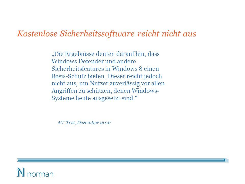 Die Ergebnisse deuten darauf hin, dass Windows Defender und andere Sicherheitsfeatures in Windows 8 einen Basis-Schutz bieten.