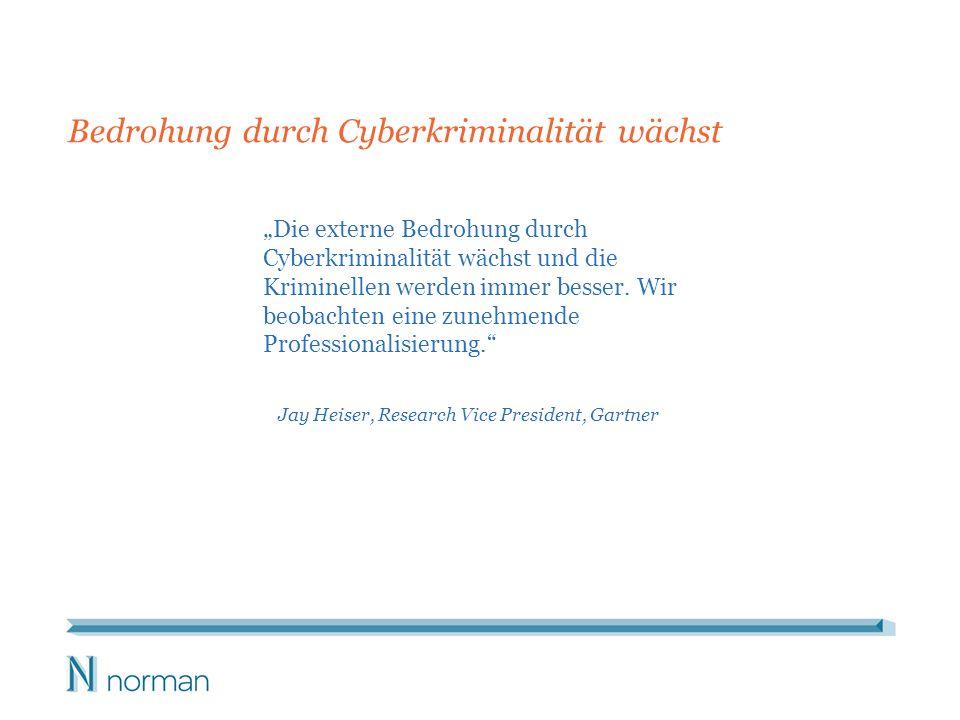 Die externe Bedrohung durch Cyberkriminalität wächst und die Kriminellen werden immer besser. Wir beobachten eine zunehmende Professionalisierung. Jay