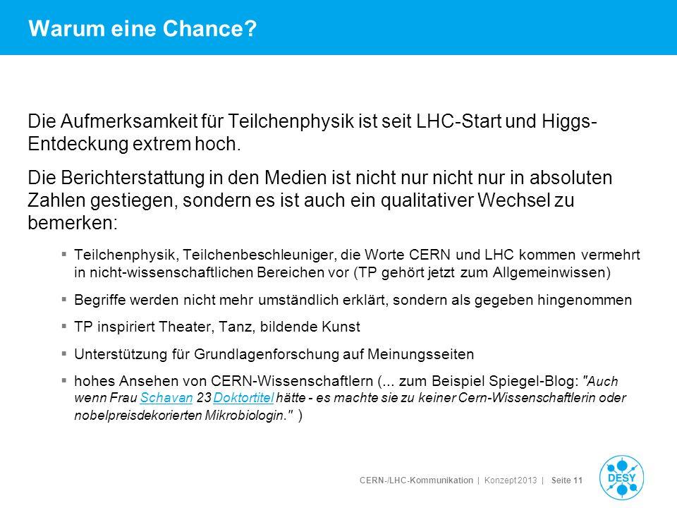 CERN-/LHC-Kommunikation | Konzept 2013 | Seite 11 Warum eine Chance? Die Aufmerksamkeit für Teilchenphysik ist seit LHC-Start und Higgs- Entdeckung ex