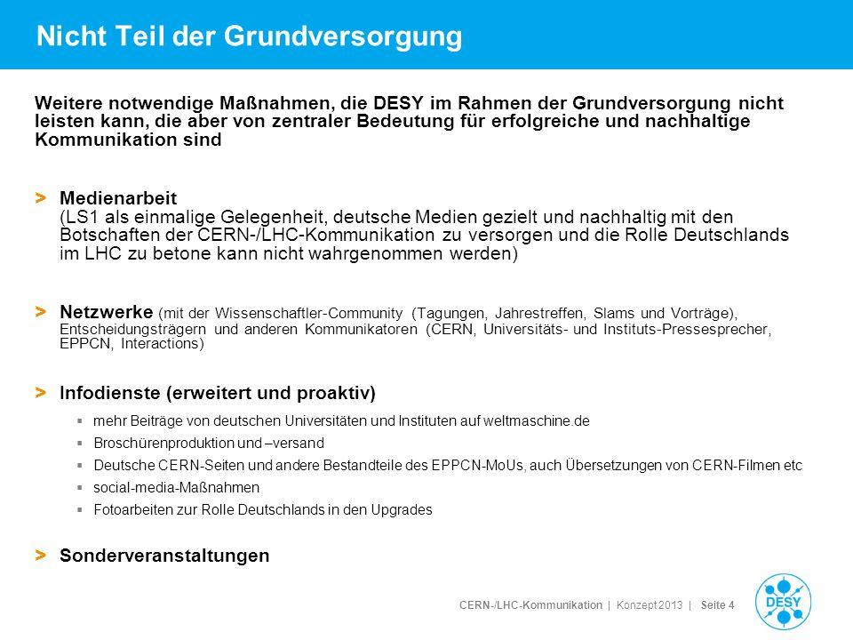 CERN-/LHC-Kommunikation | Konzept 2013 | Seite 5 Modell: Antrag auf weitere Projektfinanzierung > Idee: Maßnahmen, die nicht in der Grundversorgung geleistet werden könne, werden über Drittmittel beantragt Eine volle Stelle Mittel zur Finanzierung von Maßnahmen wie weitere Medientrainings, Entsendungskosten, erweiterte Infodienste, Sonderveranstaltungen > Idee 2.0: eine Person wird ans CERN entsandt, um dort die Medienarbeit verstärkt durchzuführen und ein Netzwerk von Multiplikatoren (Universitäts-Pressesprechern etc) aufzubauen, eine weitere Person vertrittt bei DESY die deutsche Teilchenphysiker- Gemeinschaft einmalige Gelegenheit, national und im internationalen Kontext Kommunikation zu betreiben für größtmögliche Synergie, Vernetzung und Effizienz