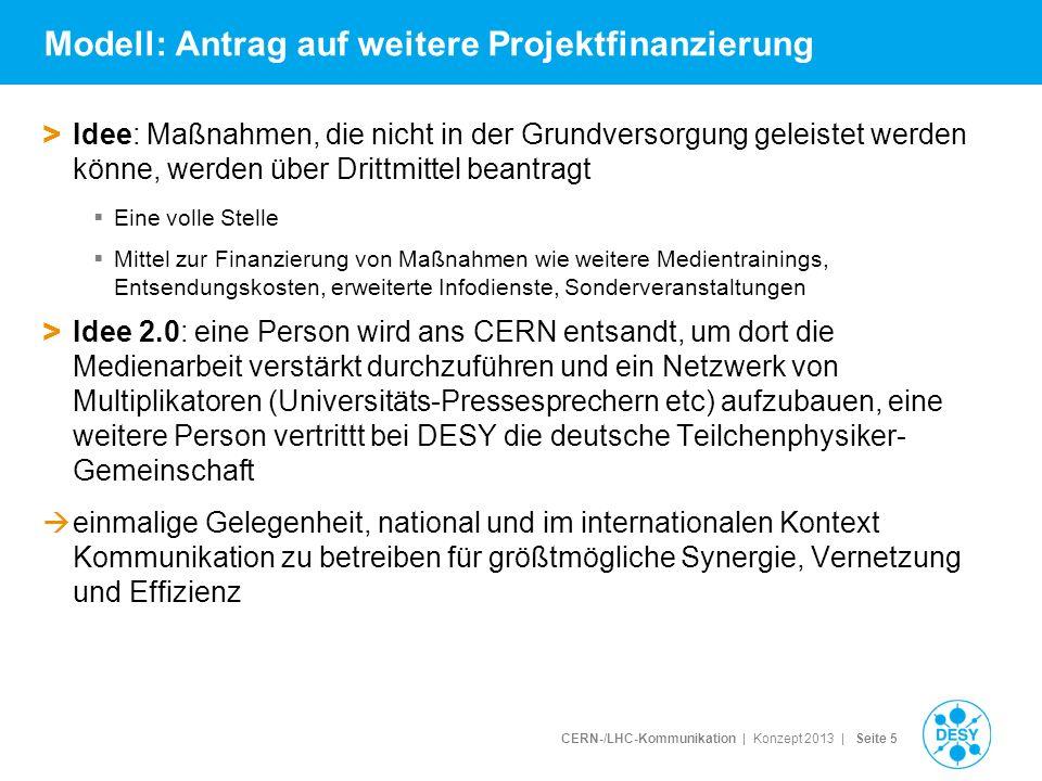 CERN-/LHC-Kommunikation | Konzept 2013 | Seite 5 Modell: Antrag auf weitere Projektfinanzierung > Idee: Maßnahmen, die nicht in der Grundversorgung ge
