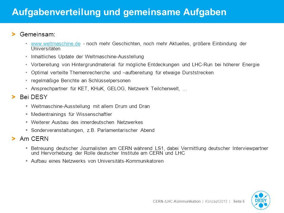 CERN-/LHC-Kommunikation | Konzept 2013 | Seite 7 Vorteile des Modells 1.5-2 Jahre lang gemeinsame Arbeit auf insgesamt 1 bis 1.5 Stellen...