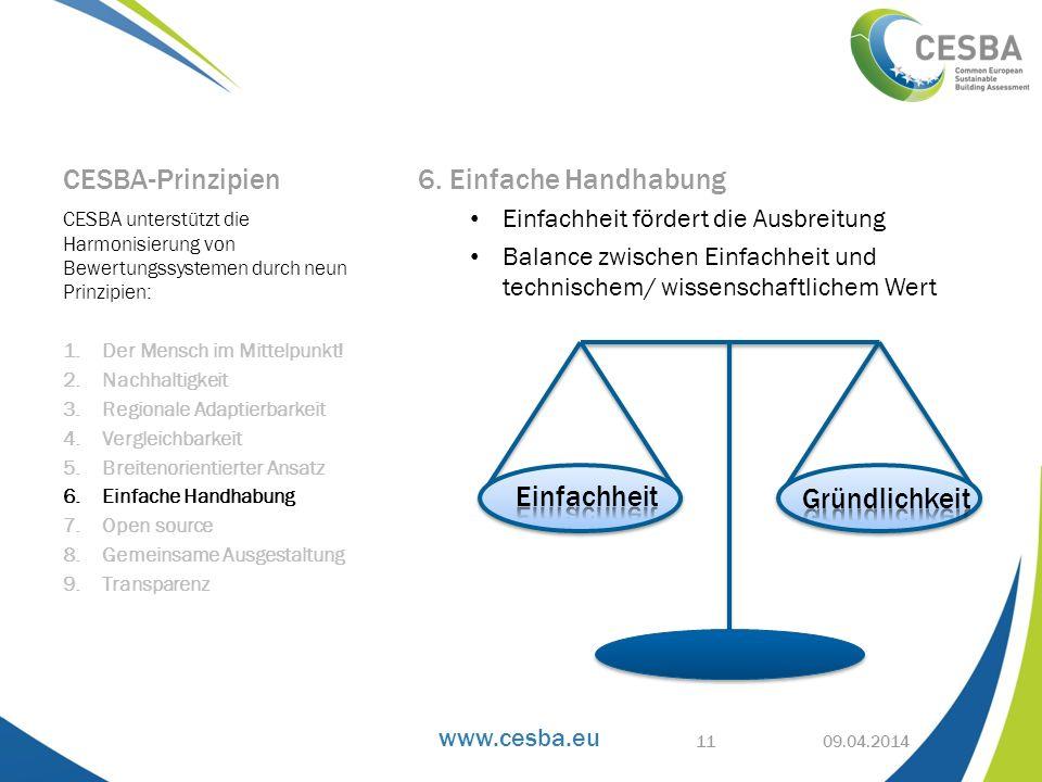 www.cesba.eu CESBA-Prinzipien 6. Einfache Handhabung Einfachheit fördert die Ausbreitung Balance zwischen Einfachheit und technischem/ wissenschaftlic