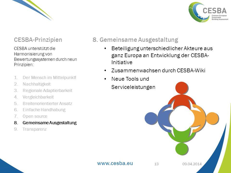 www.cesba.eu CESBA-Prinzipien 8. Gemeinsame Ausgestaltung Beteiligung unterschiedlicher Akteure aus ganz Europa an Entwicklung der CESBA- Initiative Z
