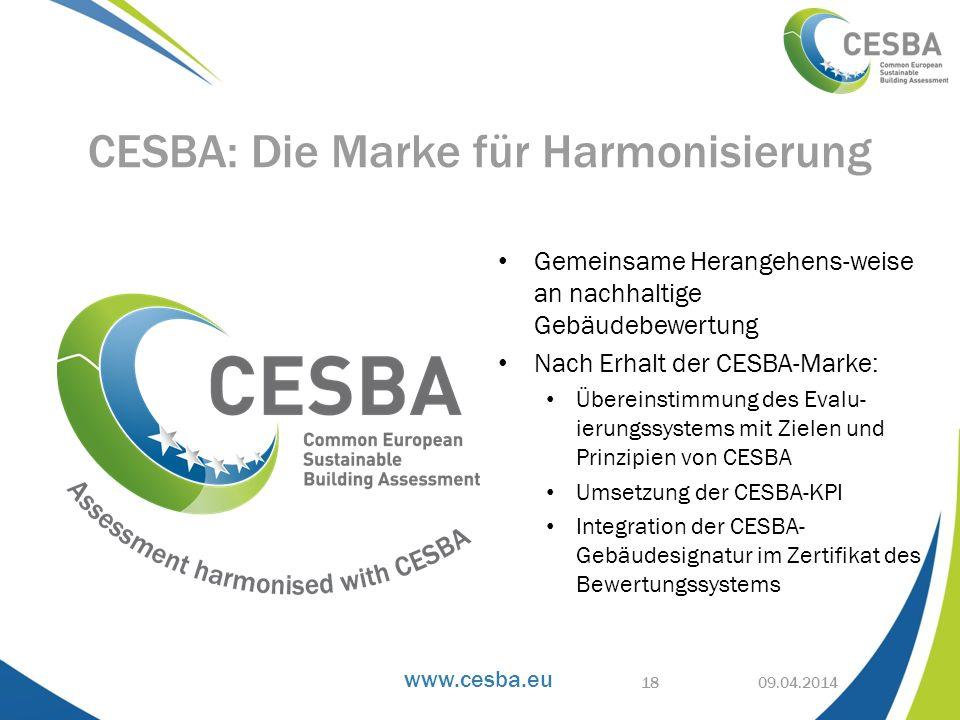 www.cesba.eu Gemeinsame Herangehens-weise an nachhaltige Gebäudebewertung Nach Erhalt der CESBA-Marke: Übereinstimmung des Evalu- ierungssystems mit Z