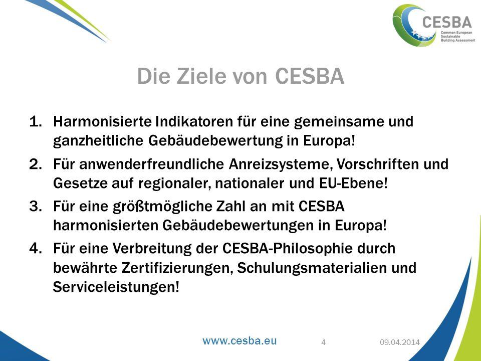 www.cesba.eu 1.Harmonisierte Indikatoren für eine gemeinsame und ganzheitliche Gebäudebewertung in Europa! 2.Für anwenderfreundliche Anreizsysteme, Vo