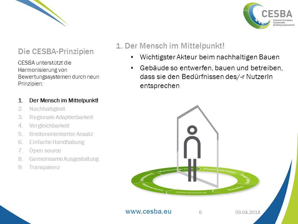 www.cesba.eu 1. Der Mensch im Mittelpunkt! Wichtigster Akteur beim nachhaltigen Bauen Gebäude so entwerfen, bauen und betreiben, dass sie den Bedürfni