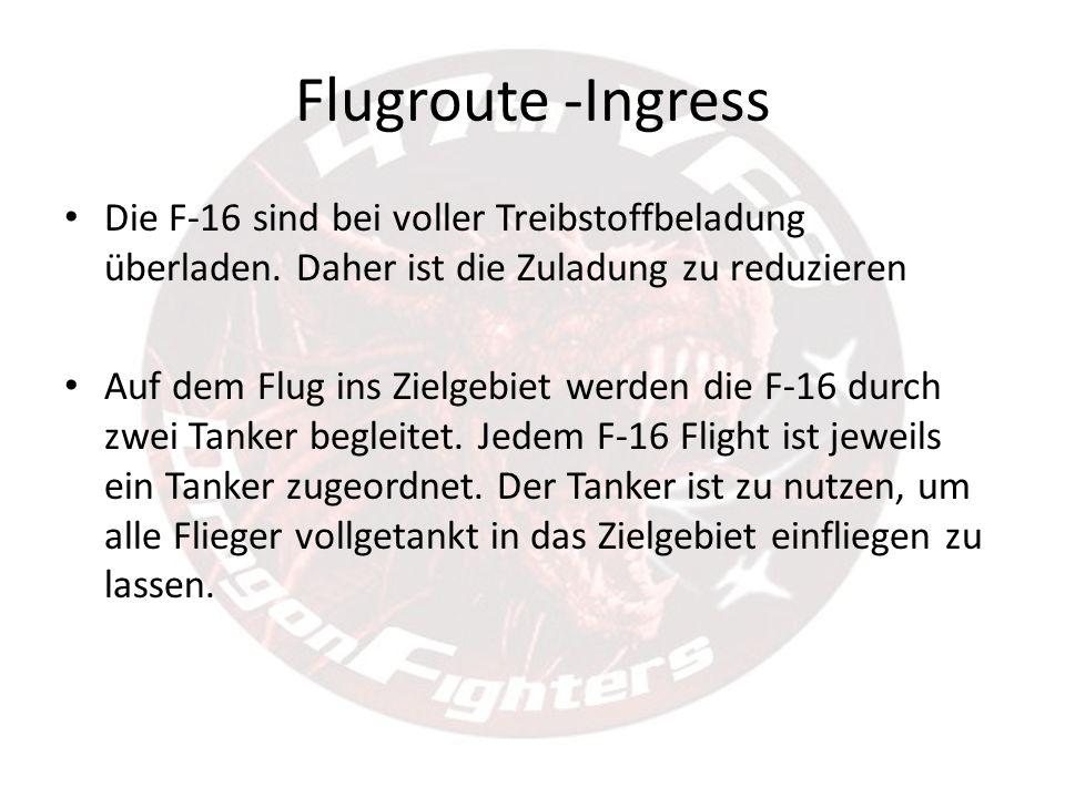 Flugroute -Ingress Die F-16 sind bei voller Treibstoffbeladung überladen. Daher ist die Zuladung zu reduzieren Auf dem Flug ins Zielgebiet werden die