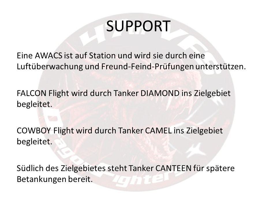 SUPPORT Eine AWACS ist auf Station und wird sie durch eine Luftüberwachung und Freund-Feind-Prüfungen unterstützen. FALCON Flight wird durch Tanker DI