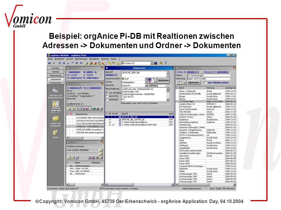 Copyright: Vomicon GmbH, 45739 Oer-Erkenschwick - orgAnice Application Day, 04.10.2004 Beispiel: orgAnice Pi-DB mit Realtionen zwischen Adressen -> Dokumenten und Ordner -> Dokumenten