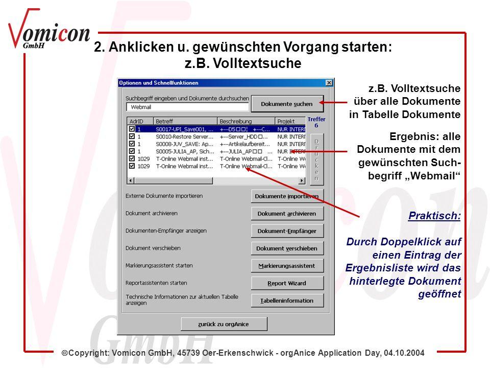 Copyright: Vomicon GmbH, 45739 Oer-Erkenschwick - orgAnice Application Day, 04.10.2004 2.
