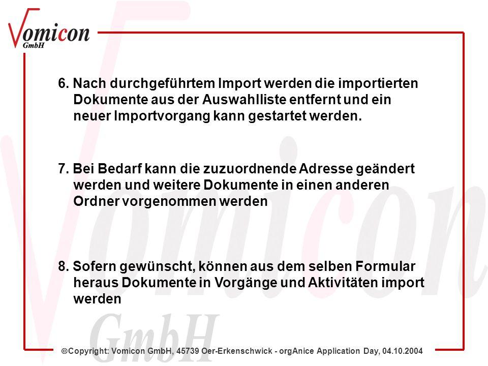 Copyright: Vomicon GmbH, 45739 Oer-Erkenschwick - orgAnice Application Day, 04.10.2004 6.