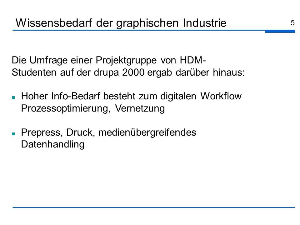 5 Die Umfrage einer Projektgruppe von HDM- Studenten auf der drupa 2000 ergab darüber hinaus: Hoher Info-Bedarf besteht zum digitalen Workflow Prozess