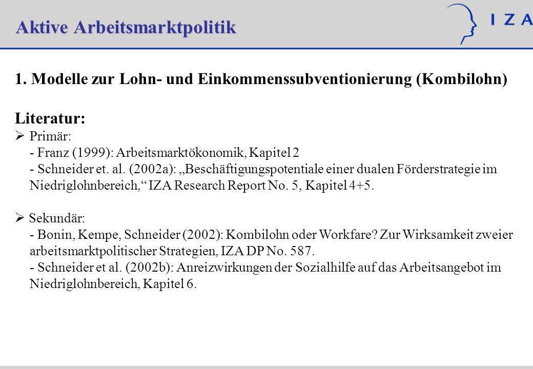 Aktive Arbeitsmarktpolitik 1. Modelle zur Lohn- und Einkommenssubventionierung (Kombilohn) Literatur: Primär: - Franz (1999): Arbeitsmarktökonomik, Ka