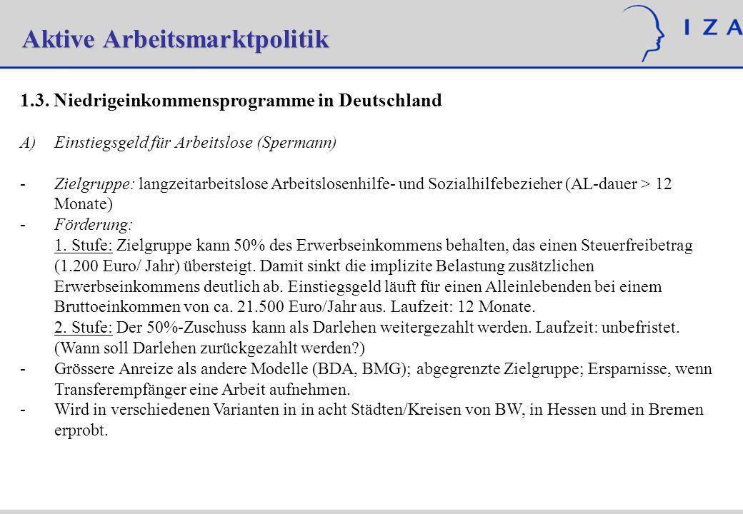 Aktive Arbeitsmarktpolitik 1.3. Niedrigeinkommensprogramme in Deutschland Einstiegsgeld für Arbeitslose (Spermann) - -Zielgruppe:langzeitarbeitslose A
