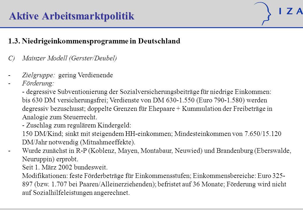 Aktive Arbeitsmarktpolitik 1.3. Niedrigeinkommensprogramme in Deutschland C)Mainzer Modell (Gerster/Deubel) - -Zielgruppe: gering Verdienende - -Förde