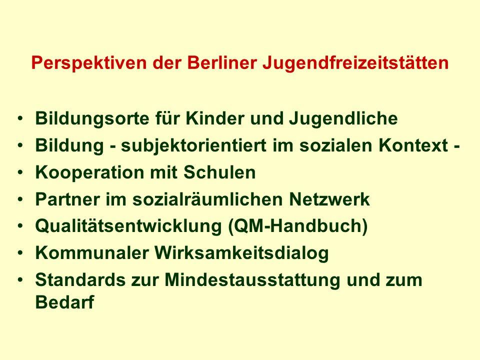 Perspektiven der Berliner Jugendfreizeitstätten Bildungsorte für Kinder und Jugendliche Bildung - subjektorientiert im sozialen Kontext - Kooperation