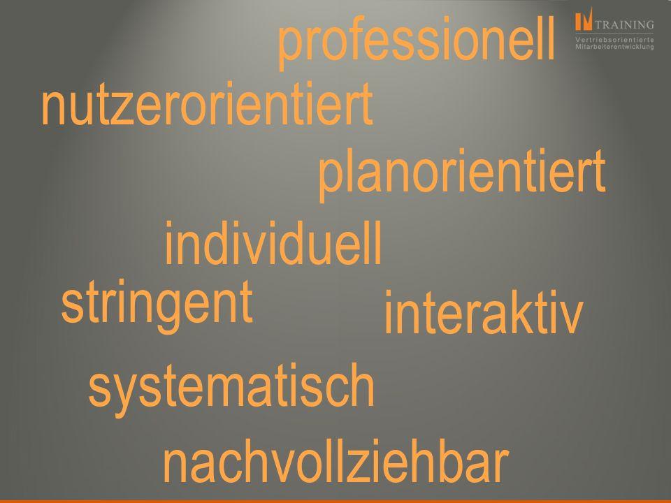 stringent systematisch planorientiert professionell interaktiv individuell nachvollziehbar nutzerorientiert
