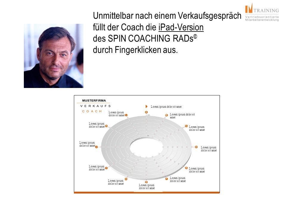 Unmittelbar nach einem Verkaufsgespräch füllt der Coach die iPad-Version des SPIN COACHING RADs © durch Fingerklicken aus. Lorem ipsum dolor sit amet